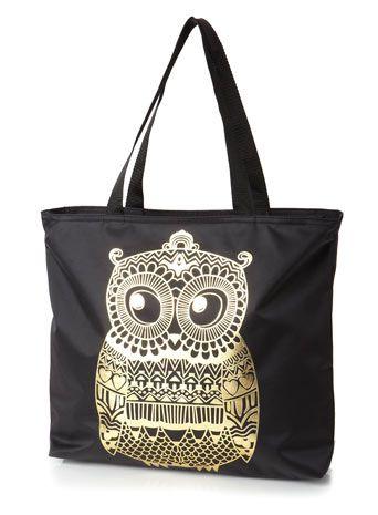 Black shopper bag with Gold Printed Owl