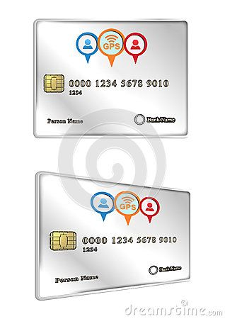 Gps Tracked Credit Card Isolated On White Background