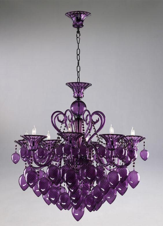 Retro Glamour Purple Glass Chandelier Horchow 8 Light Violet Murano Style | eBay