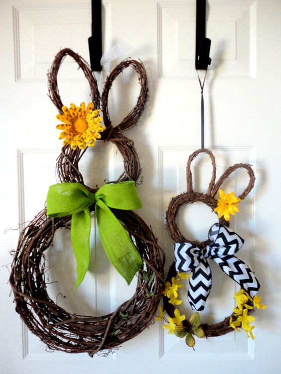 Only ONE available this season - Mama and Baby Bunny - Grapevine Bunny Wreath - Easter Wreath - Spring Wreath - Easter Decor: