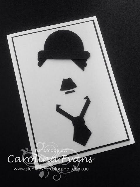 Charlie Chaplin Silhouette Punch Art Card using Stampin' Up! products 2015 Carolina Evans #stampinup #charliechaplin: