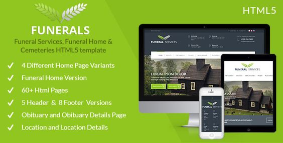 Funeral Service, Funeral Home \ Cemeteries HTML5 Website themes - funeral announcements template
