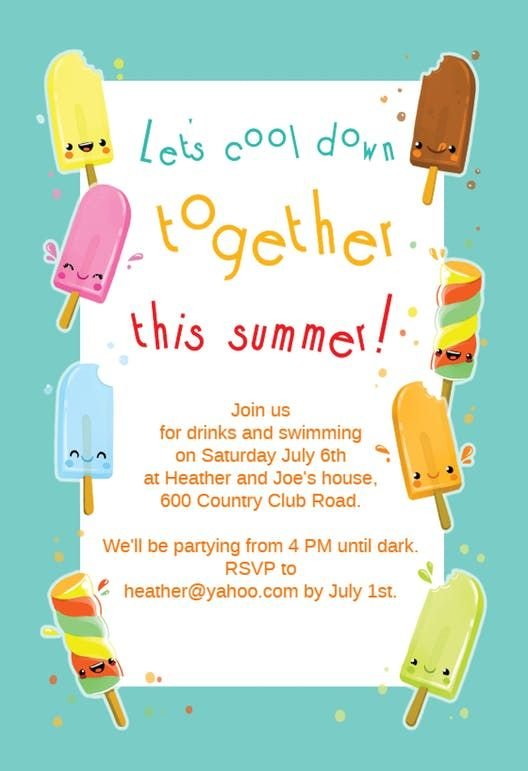 Pin On Summer Pool Party Invitation Templates
