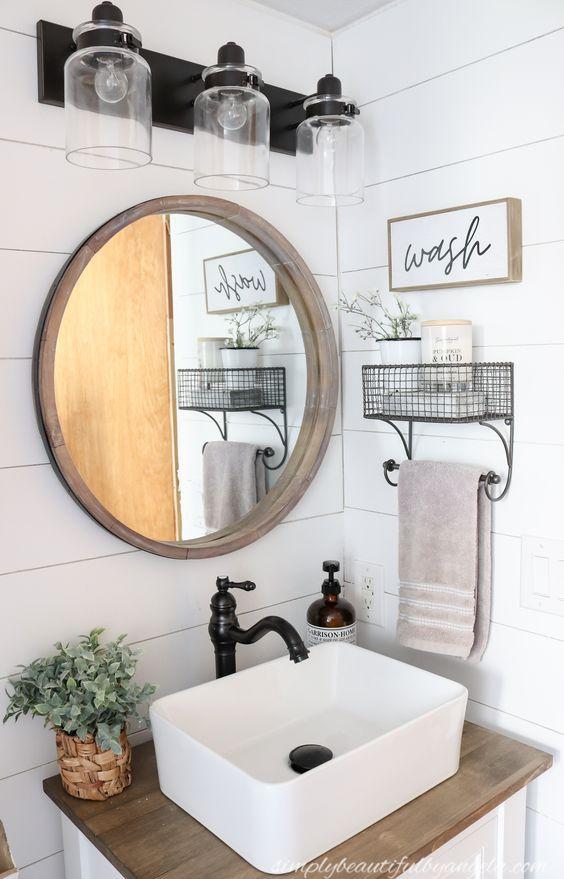 Decorative Farmhouse Bathroom Wall, Modern Farmhouse Bathroom Wall Decor Ideas