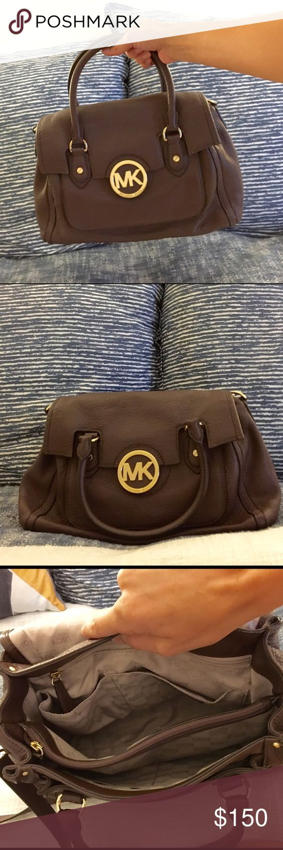 MICHAEL KORS Chocolate Shoulder/Tote Bag!! Amazing condition, only used a few times last season. Small signs of wear but nothing significant. Interior has 3 sections, middle is zippered. Side pockets and outer pocket in back. Comes with tote straps and detachable shoulder strap. No stains! Michael Kors Bags Shoulder Bags