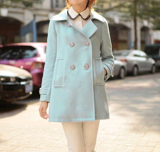 women&39s light blue Cashmere Coat Wool coat double breasted button