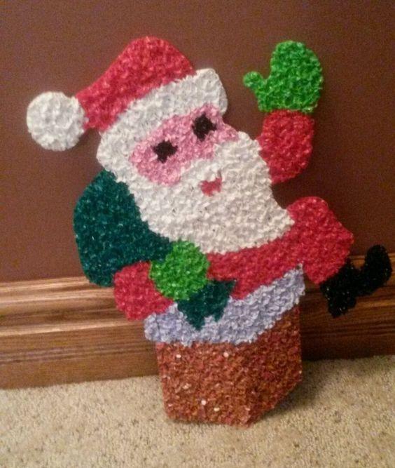 Vintage Melted Plastic Popcorn Christmas Holiday Santa in Chimney Decoration | eBay