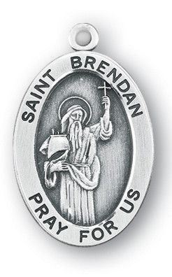 Sterling Silver Oval Shaped St. Brendan Medal by HMH | Catholic Shopping .com