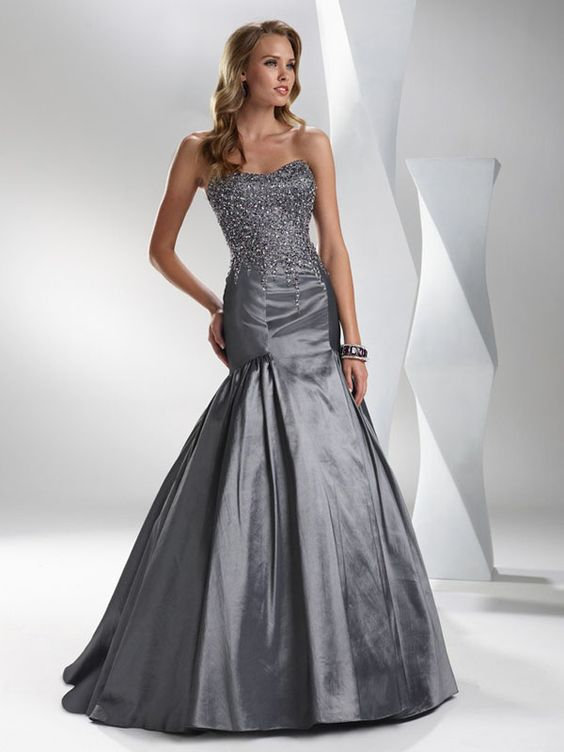 Yellow And Grey Evening Dress Grey Mermaid Strapless