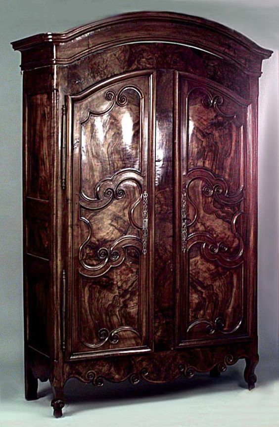 northern italian rococo walnut armoire cabinet with arched pediment above a pair of doors. Black Bedroom Furniture Sets. Home Design Ideas