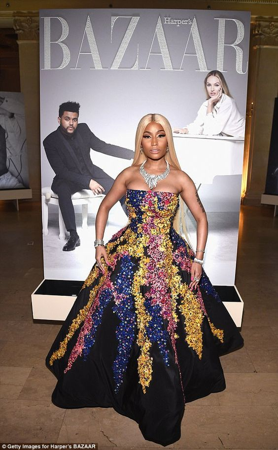 Dramatic entrance: Nicki Minaj looked every inch the Barbie princess as she made her grand entrance at the Harper's Bazaar ICONS bash in New York on Friday night