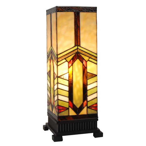"""River of Goods Stained Glass Mission Style Stone Mountain Pillar 17.25"""" H Table Lamp with Rectangular Shade"""