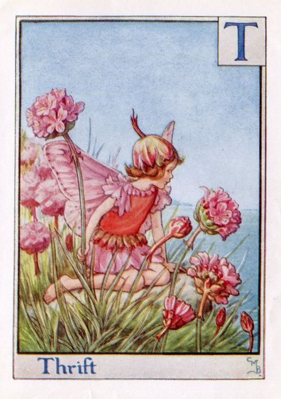 Thrift Alphabet Letter T Flower Fairy Vintage Print, c.1940 Cicely Mary Barker Book Plate Illustration: