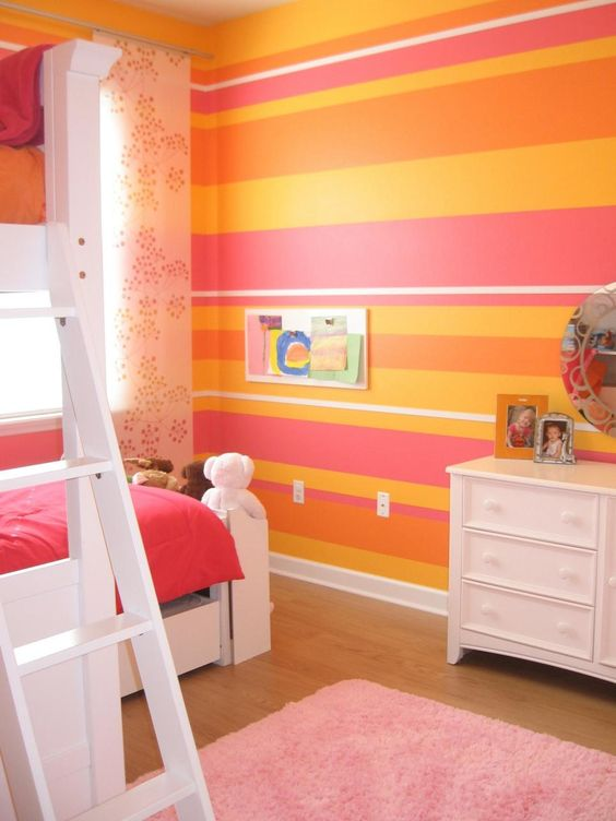 HGTV fan Andi2347 combined bold stripes in orange, pink, yellow and white to create the ultimate girls' bedroom for two. The sweet color combination helps reflect the natural light, creating a playful yet sophisticated space.