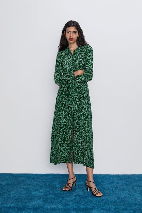 Zara Printed Shirt Dress | Printed shirt dress, Zara green dress ...