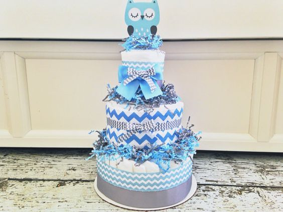 Owl chevron diaper cake for boys baby shower centerpiece on etsy chevron themed - Baby shower chevron decorations ...
