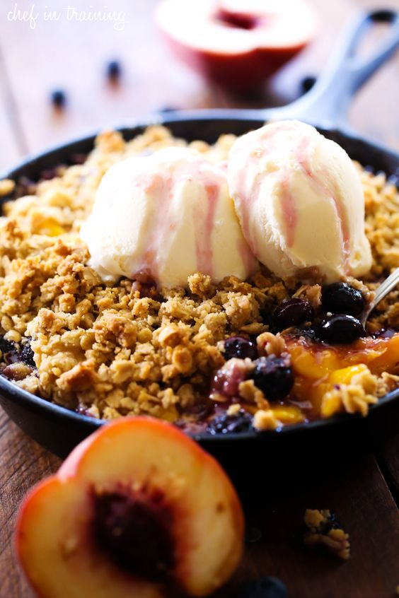 Peach Blueberry Cobbler... this is such a delightful and delicious treat! The crumble topping is perfection atop the warm fruit!: