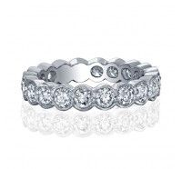 Bezel Set Milgrain Round Diamond Eternity Ring.I absolutely want to do that whole eternity ring for each child's birth and this would be perfect!
