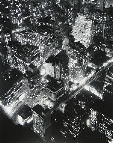 """Nightview, New York"" (1932) by Berenice Abbott.    http://www.commercegraphics.com/ny.html"