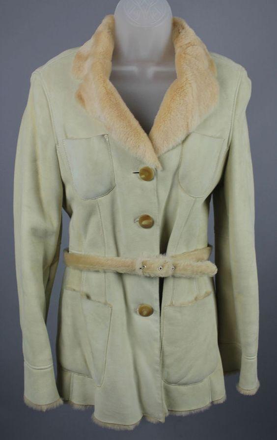 Giorgio Armani Black Label Beige Shearling Fur Jacket Coat 40 #giorgioarmani #BasicJacket