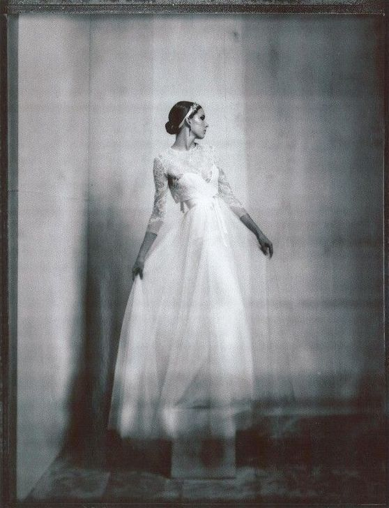 "Beautiful black & white photograph of Amsale's ""Harper"" dress in Dallas Weddings magazine"