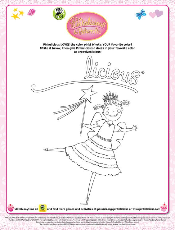 Pinkalicious Loves The Color Pink What S Your Favorite Color Write It Below Then Give Pinkalicious A Dress In Yo Pbs Kids Pinkalicious Literature Activities