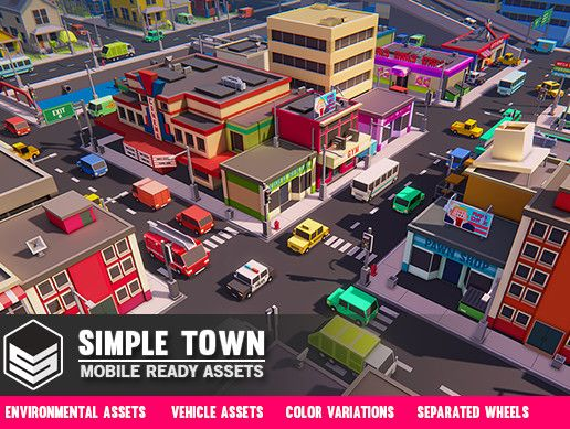 Simple Town Cartoon Assets Urban City Game Assets Unity Games