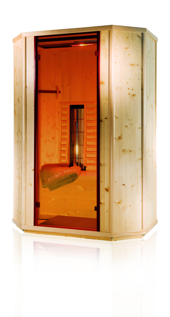 Die Pro-Fit II Deluxe Infrarotkabine mit     Farblichtbad,      Aromabad,      Fußwärmematte,      Vollspektrum-Sonnenlicht,      ergonomisch geformte Rückenlehnen,      zwei Handtuchhalter      vollelektronische Steuerung mit sensitivem Bedienfeld und integriertem MP3-Player