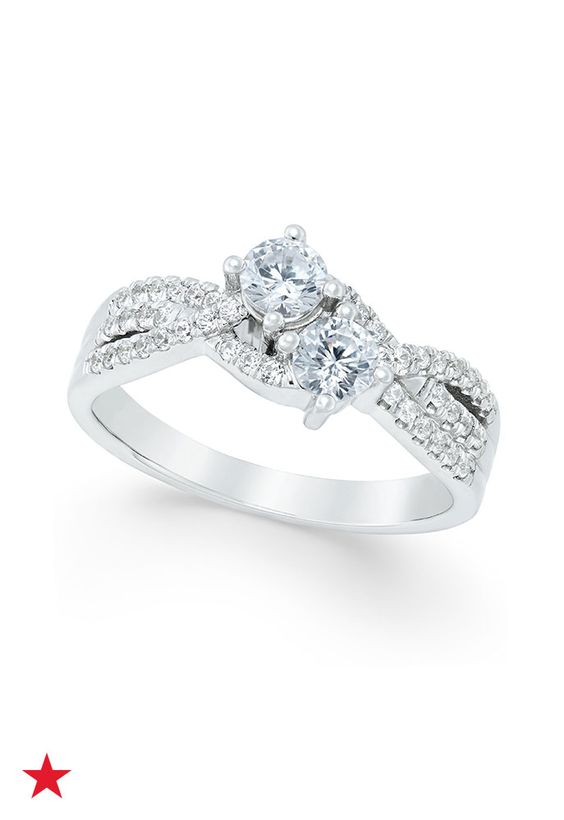 A pair of stunning diamonds are showcased in this beautiful overlap, layer-look, round-cut diamond engagement ring (3/4 ct. t.w.) by Two Souls, One Love. See it now at macys.com.