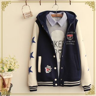 Buy Fairyland Hooded Applique Baseball Jacket at YesStyle.com! Quality products at remarkable prices. FREE WORLDWIDE SHIPPING on orders over US$35.