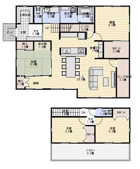 41坪4ldk老後夫婦で住む縁側のある間取り図 新築間取り 間取り図 間取り 40坪 間取り