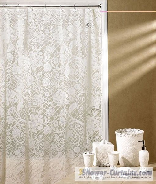 lace shower curtain Home Pinterest