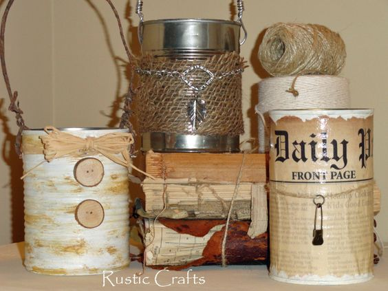 Recycled Can Caddies | rustic-crafts.com via Hometalk  I hate tossing sturdy food cans but never know what to do with them. Kind of a cute idea.