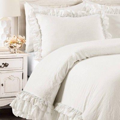 3pc Twin Twin Xl Ella Shabby Chic Comforter Sham Set White Lush Decor Shabby Chic Comforter