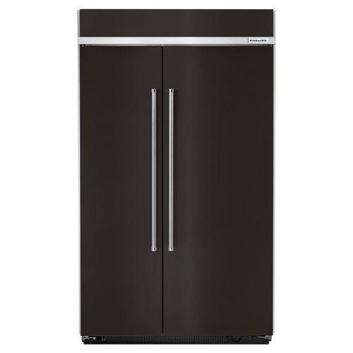 Kitchenaid 30 Cu Ft Built In Side By Side Refrigerator With Ice Maker Fingerprint Resistant Black Stainless Lowes Com In 2020 Side By Side Refrigerator Kitchen Aid Built In Refrigerator