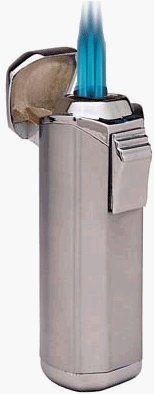 Visol Trio Gun Satin Triple Flame Lighter w/ Built-in Punch