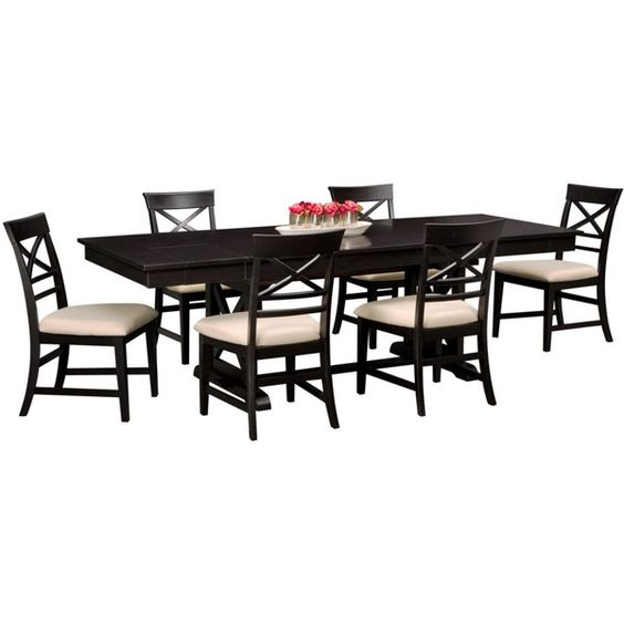 Plantation Cove Black 7-PC Dinette ($800) ❤ liked on Polyvore