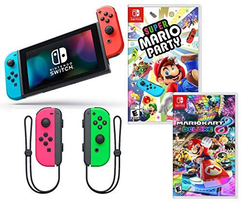 Nintendo Switch Super Mario Kart Party Bundle Nintendo Switch With Neon Red And Blue Joy Con Super Mario Par Super Mario Party Mario Party Super Mario Kart