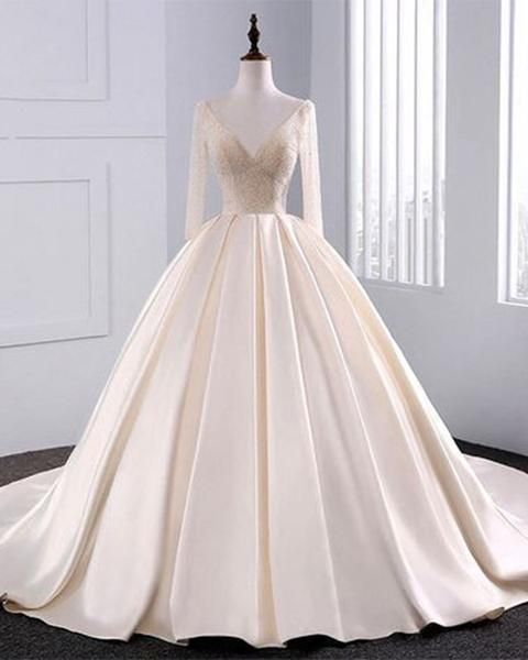 Wedding Dresses Ball Gown Wedding Dresses Full Sleeve Wedding Dresses Simple Wedding Dresses With Images Beige Wedding Dress Ball Gown Wedding Dress Wedding Dresses Satin