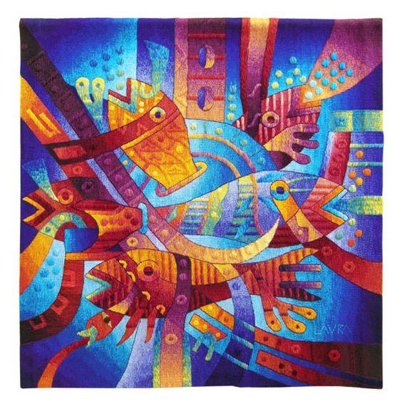 "Handwoven Tapestry ""Alegria en la Fiesta Mayor del Agua"". 47 x 47 inches (120 x 120 cm) /// Price: US$ 1,940 including Worldwide Shipping."