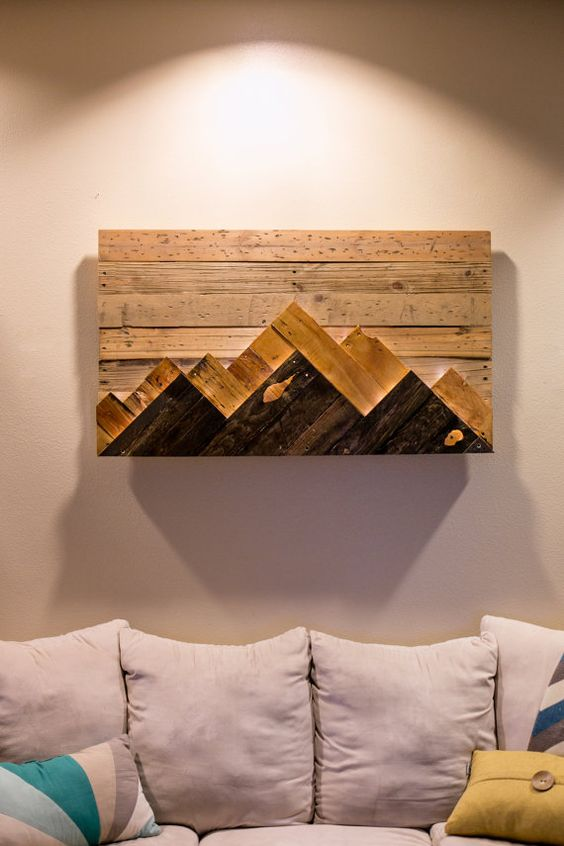 Wooden Mountain Range Wall Art