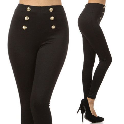 Black High Waist Sailor Pants Gold Buttons from Milly Kate | WANTS ...