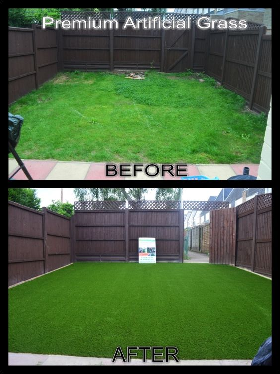 Beore and after pictures of a garden where we insatlled and suppled the artificual grass