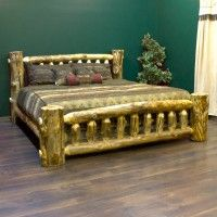 Aspen Estate Low Profile Rustic Bed, from logfurnitureplace.com