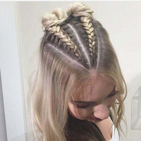 Double Buns Thin Haired Girls This Do Is For You Create Two Braids On Top Of Your Head And Finish Off The Lo Short Thin Hair Top Braid Two Braid Hairstyles