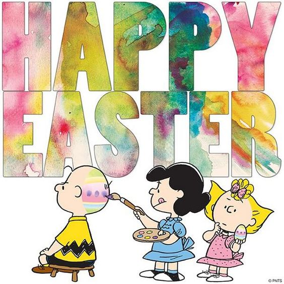 Happy Easter, Charlie Brown, Sally, and Lucy Van Pelt, the Peanuts Gang.: