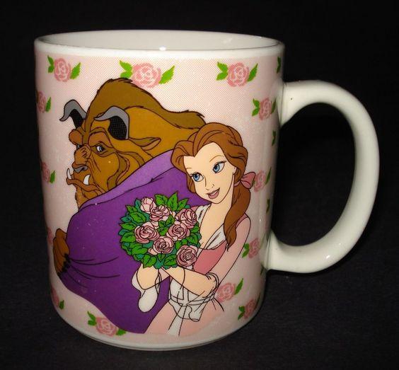 Vtg Walt Disney Beauty The Beast Ceramic Coffee Mug Cup