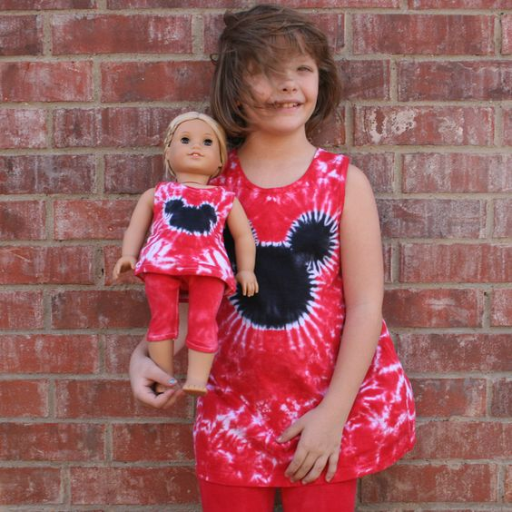 Matching Girl and Doll Red and Black Tie Dye Mouse Tunic and Leggings Set- fits American Girl and Other 18 Inch Dolls. $48.00, via Etsy.