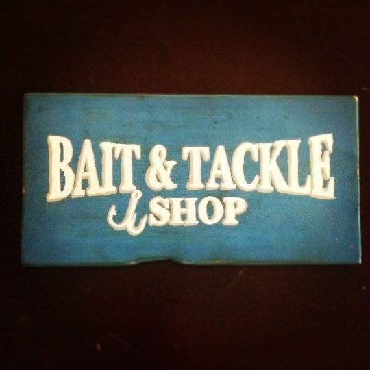 bait and tackle wood sign fishing sporting goods antique looking, Hard Baits