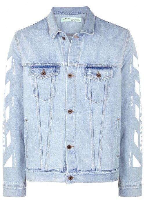 Off White Distressed Printed Denim Jacket Off White Cloth Off White Clothing Printed Denim Jacket Long Sleeve Denim Jacket